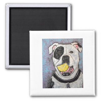 mussolini and the tennis ball 2 inch square magnet