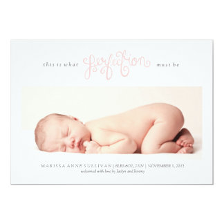 Must be Perfection Birth Announcement - Light Pink