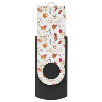 Must Have Data Transfer Watercolor Fall Leaves Flash Drive