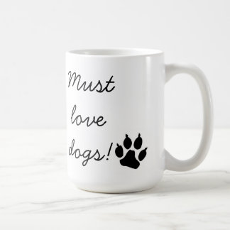Must Love Dogs Black Paw Print Mug