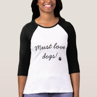 Must Love Dogs Black Paw Print Women's Shirt