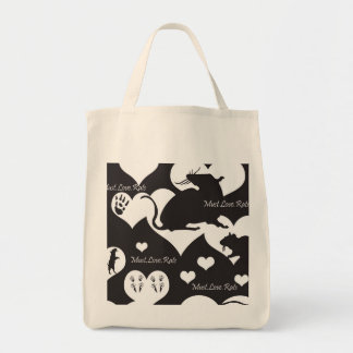 Must. Love. Rats Black and White Tote Canvas Bags
