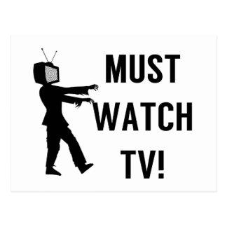 Must Watch TV Zombie Postcard