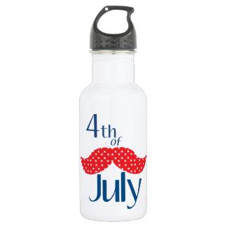 Mustache 4th of July Stainless Steel Water Bottle
