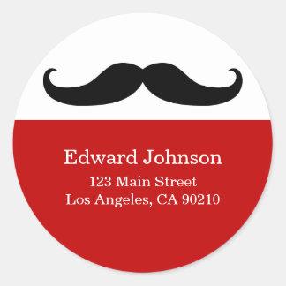 Mustache Address Labels Classic Round Sticker