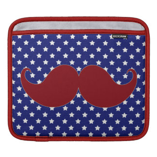 Mustache Americana Stars, Red White Blue Sleeve For iPads