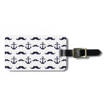 Mustache and anchor luggage tag