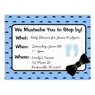 Mustache and Bow tie Baby Shower Invitation Postcard