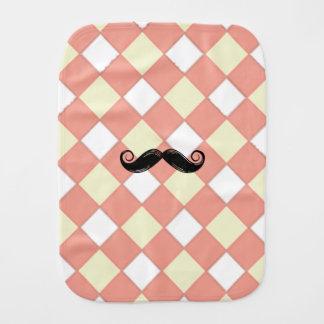 Mustache and Checkered Burp Cloth