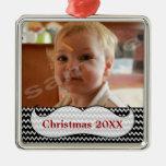 Mustache and Chevron Photo Ornament