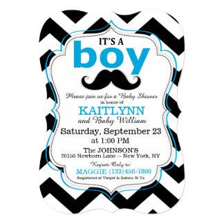 Mustache and Chevron Print Boy Baby Shower Invites