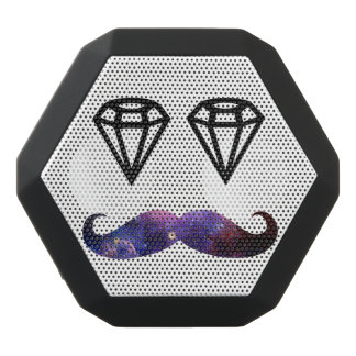 Mustache and diamonds black bluetooth speaker
