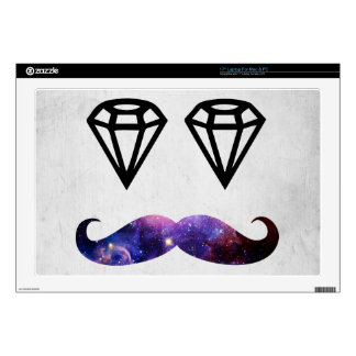 """Mustache and diamonds decals for 17"""" laptops"""