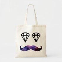 funny, diamond, mustache, hipster, boho, cool, nebula, stache, vintage, bag, space, galaxy, fun, diamonds, tote bag, Bag with custom graphic design