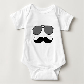 mustache and glasses baby bodysuit