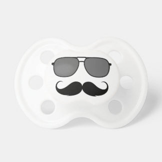 mustache and glasses baby pacifier