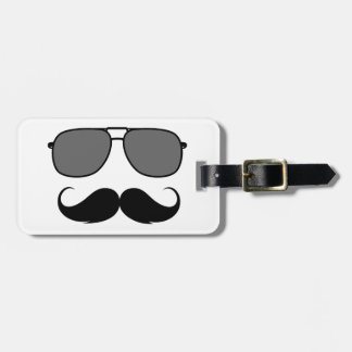 mustache and glasses bag tag