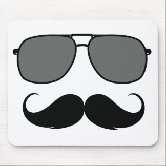 mustache and glasses mouse pad