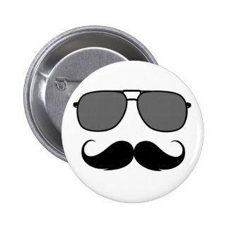 mustache and glasses pinback button