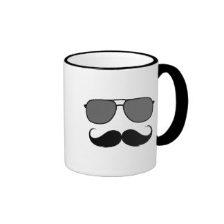 mustache and glasses ringer coffee mug