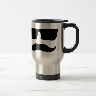 Mustache and glasses travel mug