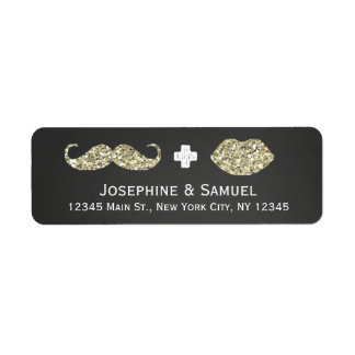 Mustache and Kiss Chalkboard Wedding Address Label