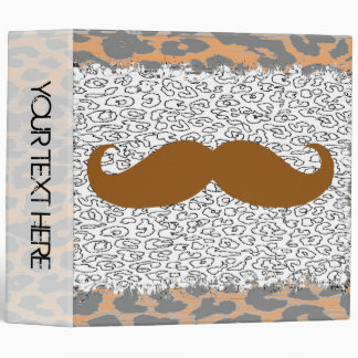 Mustache and Leopard Print 3 Ring Binder
