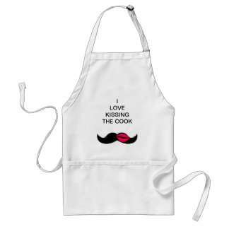 mustache and lips adult apron