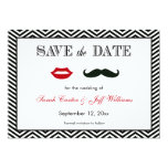 Mustache and Lips Chevron Save the Date Cards
