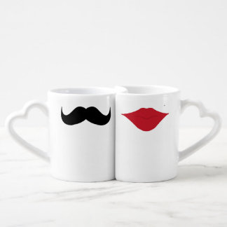 Mustache and lips couples mugs couples' coffee mug set