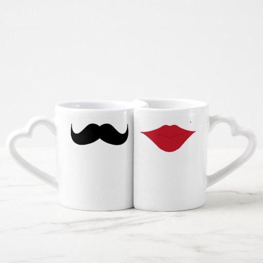 Mustache and lips couples mugs Couples' Coffee Mug Set