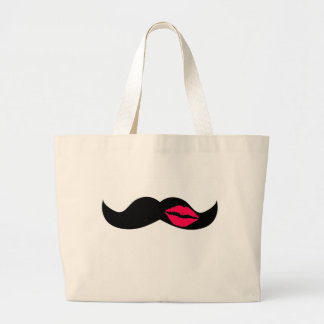 mustache and lips large tote bag