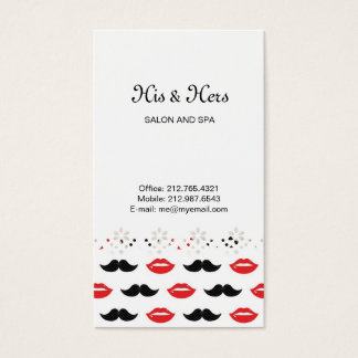 Mustache and Lips Red & Black Pattern Business Card