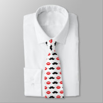 Mustache and Lips Red & Black Pattern Neck Tie