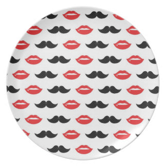 Mustache and Lips Red & Black Pattern Plate