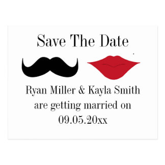 Mustache and lips save the date postcard