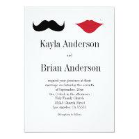 Mustache and lips wedding invitation