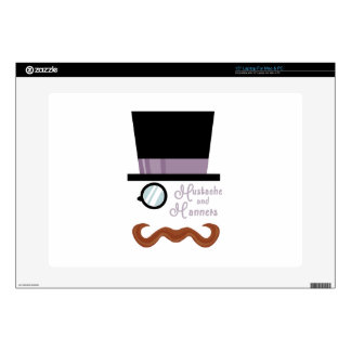 """Mustache And Manners 15"""" Laptop Skins"""