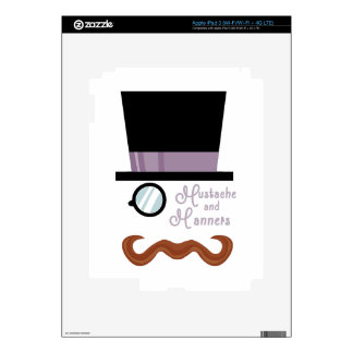 Mustache And Manners Decals For iPad 3