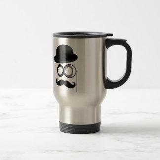 mustache and monocle man travel mug