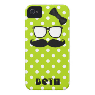 Mustache and Polka Dots iPhone 4 Case