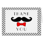 Mustache and Red Bowtie Thank You Note Card