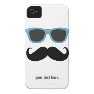 Mustache and Sunglasses - add your text iPhone 4 Case