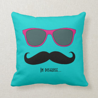 Mustache and Sunglasses Disguise Pink Teal Throw Pillows