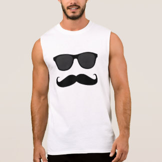 Mustache and Sunglasses Sleeveless Shirt