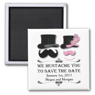 Mustache and Top Hat Save The Date Magnet