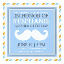 """Mustache baby boy shower invites 5.25"""" square invitation card"""