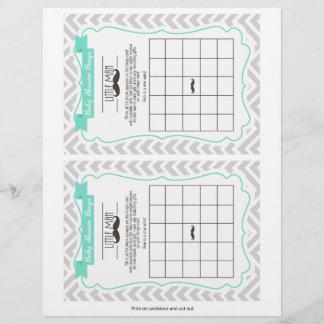 Mustache Baby Shower Bingo Game, 2 a page