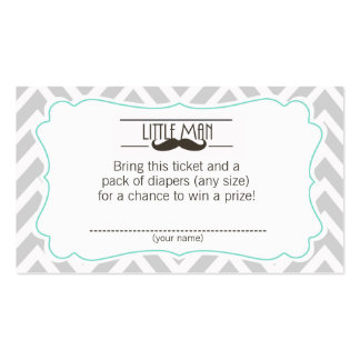 Mustache Baby Shower Diaper Raffle ticket Double-Sided Standard Business Cards (Pack Of 100)