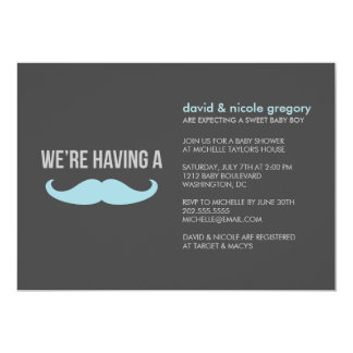 "Mustache Baby Shower 5"" X 7"" Invitation Card"